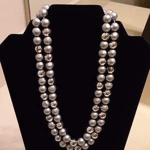 Faux beaded silver necklace
